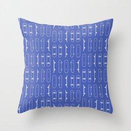 Skateboard White Lines on Blue Throw Pillow