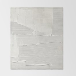 Relief [1]: an abstract, textured piece in white by Alyssa Hamilton Art Throw Blanket