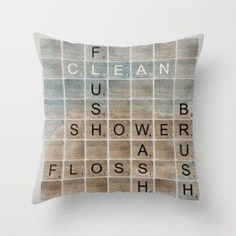 Bathroom 'Scrabble' Letters Throw Pillow