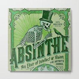 Vintage 1871 Absinthe Liquor Skeleton Elixir Aperitif Cocktail Alcohol Advertisement Poster Metal Print