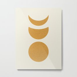 Lunar Phase - Gold Metal Print