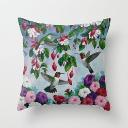 Hummingbirds in Fuchsia Flower Garden Throw Pillow