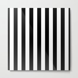 Solid Black and White Wide Vertical Cabana Tent Stripe Metal Print