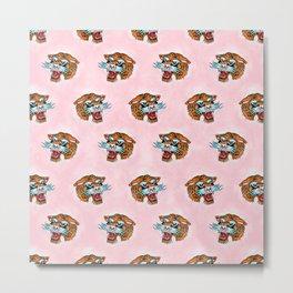 Fierce Tiger Pattern Pink dream Metal Print