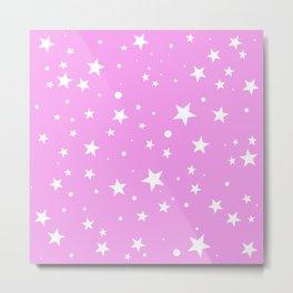 Light Pink Starry Sky Cute white stars pattern gift face mask Metal Print