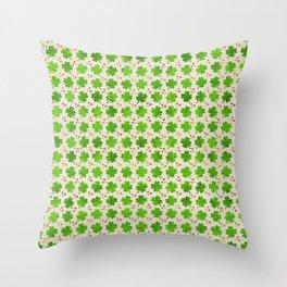 Irish Shamrock Four-leaf clover pattern Throw Pillow