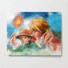 Sophie and Howl from Howl's Moving Castle Tra-Digital Painting Metal Print