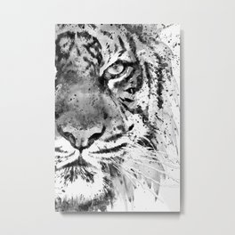 Black And White Half Faced Tiger Metal Print