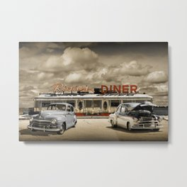 Historic Rosie's Diner with Vintage Classic 50's Automobiles Metal Print