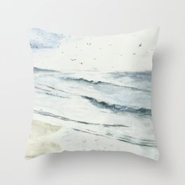 People walking down the beach, watercolor painting Throw Pillow