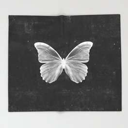 Butterfly in Black Throw Blanket