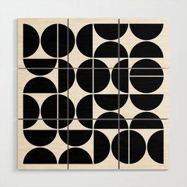 Mid Century Modern Geometric 04 Black Wood Wall Art