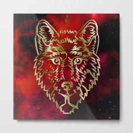 Scarlet Nebula, Golden Wolf Metal Print