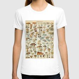 Mushrooms Vintage Scientific Illustration French Language Encyclopedia Lithographs Educational T-shirt