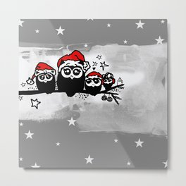 Cute Christmas Owl Family Metal Print