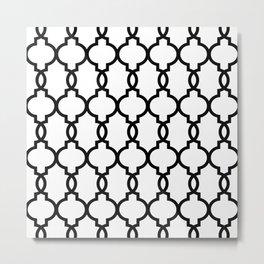 Hollywood Regency Trellis Pattern 521 Black and White Metal Print