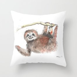 Happy is the Three Toed Sloth Throw Pillow