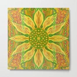 Sun Flower, Sunflower, Bohemian Floral Mandala Pattern Metal Print