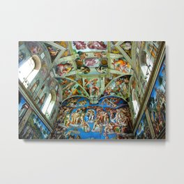 Spectacular Sistine Chapel Frescoes, Rome, Italy, 1985 Metal Print