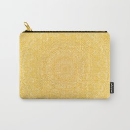 The Most Detailed Intricate Mandala (Mustard Yellow) Maze Zentangle Hand Drawn Popular Trending Carry-All Pouch