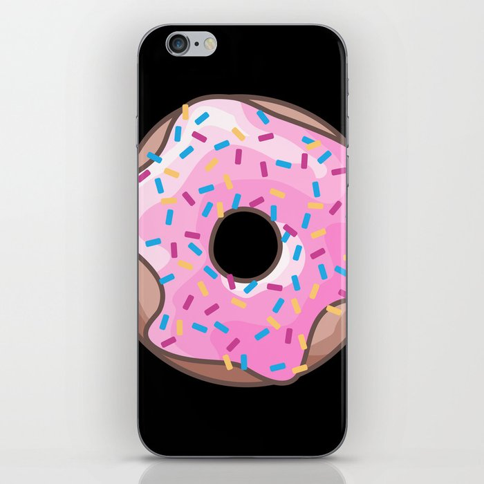 Pink Donut on Black iPhone Skin