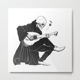 Minstrel playing guitar,grim reaper musician cartoon,gothic skull,medieval skeleton,death poet illus Metal Print
