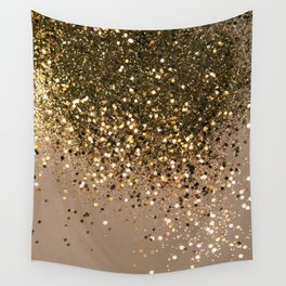 Sparkling Gold Brown Glitter Glam #1 (Faux Glitter) #shiny #decor #art #society6 Wall Tapestry