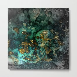 Gold Indigo Malachite Marble Metal Print
