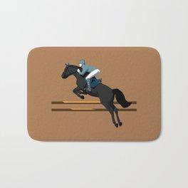 Jumping Black Horse and a Man Bath Mat