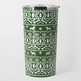 Chihuahua fair isle christmas sweater green and white minimal chihuahuas dog breed Travel Mug