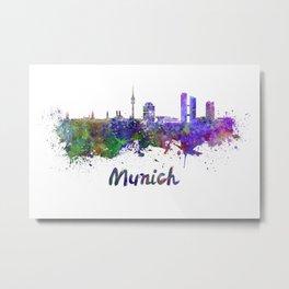 Munich skyline in watercolor Metal Print