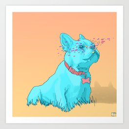 Psychedelic French Bulldog Art Print