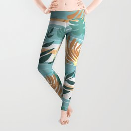 Botanical Collage With Stripes Leggings