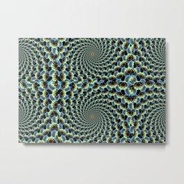 Corgi head pattern - optical illusion - green Metal Print