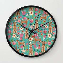 Irish Terrier florals dog breed pet pattern dog art pet friendly terriers portrait Wall Clock