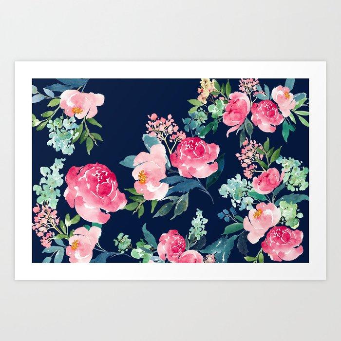 Navy and Pink Watercolor Peony Kunstdrucke