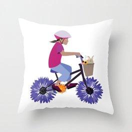 Summer Bike Ride Throw Pillow