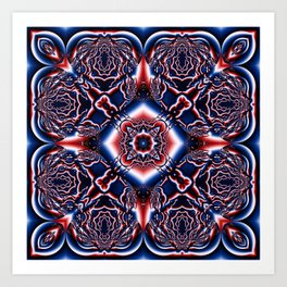 Kaleidoscope No.75 - Red White and Blue Art Print