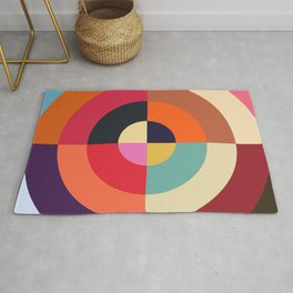 Autumn - Colorful Classic Abstract Minimal Retro 70s Style Graphic Design Rug