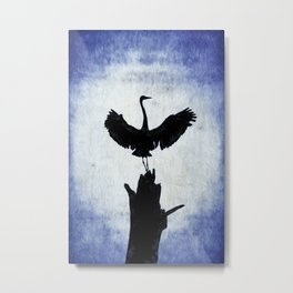 Blue Heron with Wings Spread Metal Print
