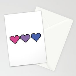 Bisexual Pixel Heart Stationery Cards