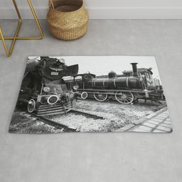 Old steam locomotives in Black and White Rug