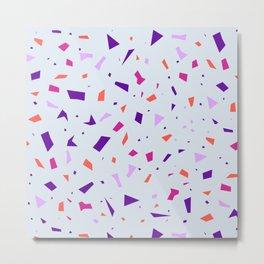 Pale Lilac Terrazzo Pattern - Orange Granite Marble Sparkles Metal Print