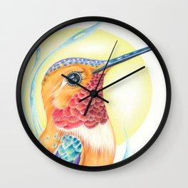 Rufous Hummingbird Sun Colored Pencil Art Wall Clock