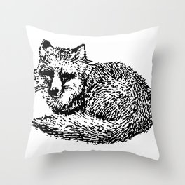 Cool old black and White vintage fox design Throw Pillow