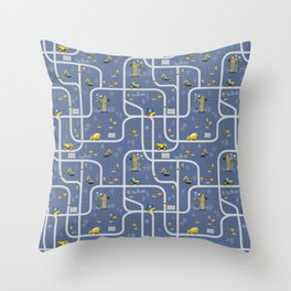 Under Construction Digger Vehicles Blue Pattern Throw Pillow