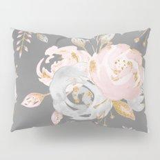 Night Rose Garden Gray Pillow Sham