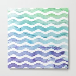 Modern teal purple watercolor wave striped Metal Print
