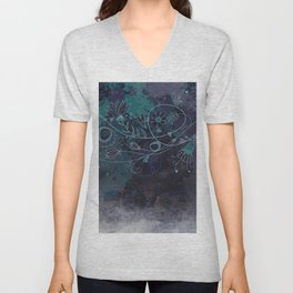 Background with textured canvas in cool tones Unisex V-Neck