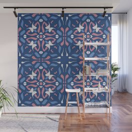 Blue and Rose Pink Mandala Portuguese Hand Painted Tile - Symmetry Geometric Texture - Abstract Royal Wall Mural